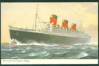 Queen Mary Cunard RMS British Steam Liner CE Turner Painting Old Ship Postcard
