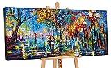YS-Art Cuadro hecho a mano 'Colección de otoño' con pinturas acrílicas sobre lienzo con bastidor PS059 (200 x 100 cm)