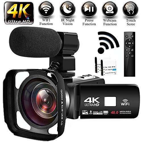 Videokamera Camcorder 4K Ultra HD 48MP WiFi Videokamera 3,0 Zoll Touchscreen Nachtsicht Videokamera 4K Camcorder mit Externem Mikrofon