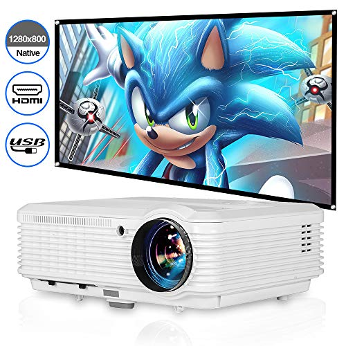 WIKISH 4800 Lumen Video Projector,Hdmi Projector Support 1080p Video Digital Zoom for Outdoor Movie Gaming Laptop Fire TV Stick Usb Drive Vga Roku Mac