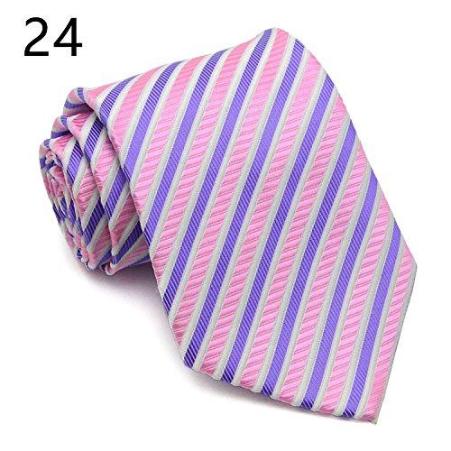 WUNDEPYTIE Job-Vorstellungsgespräch für Krawatten aus Polyesterfasern für Männer, Purple J}