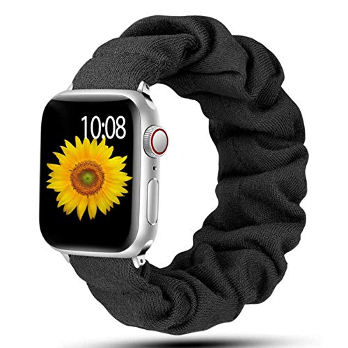 Correa para Apple Watch Band 40mm 44mm 42mm 38mm 42 Mm Nylon elástico Solo Loop Pulsera para IWatch Series 6 5 4 3 Se Band-Negro, 38mm o 40mm