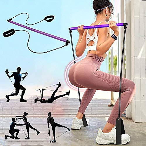 PLEASION Pilates Exercise Resistance Band, Yoga Pilates Bar Reformer Kit, Portable Pilates Stick Fitness Bar, Home Gym Pilates with Foot Loop for Total Body Workout… (Purple)