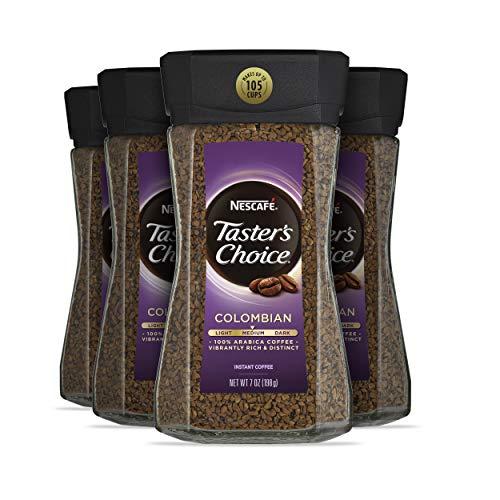 Nescafe Taster's Choice 100% Colombian Medium Roast Instant Coffee, 100% Colombian Medium Roast, 7 oz (Pack of 4)