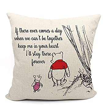 Mancheng-zi Winnie The Pooh and Piglet Pillow Case Friendship Gifts Decorative Pillow Covers Winnie The Pooh Theme Room Nursery Decor 18 x 18 Inch Linen Cushion Cover for Sofa Couch Bed