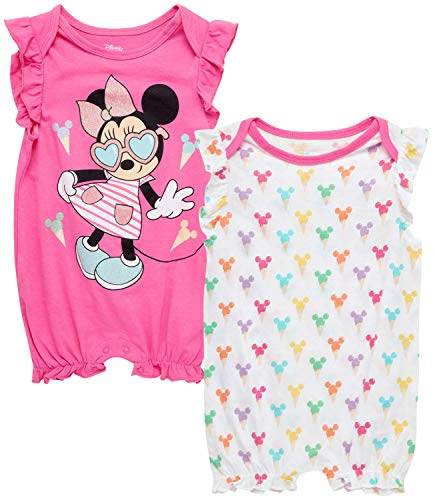 Disney Baby Girls Romper 2 Pack: Minnie Mouse Ruffle Sleeve Romper (Newborn/Infant), Size 12 Months, Hot Pink Minnie./ White Multi Hearts