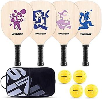 4-Pack Vinsguir Pickleball Paddle Set + 4 Rackets and 4 Balls + Bag