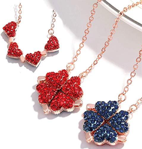Magic Love Halskette Herzen, Lucky Four Leaf Clover Halskette, 4 in 1 glücklichen doppelseitigen Klee Halskette A