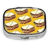 Schinken Sandwich Muster Custom Fashion Silber Quadrat Pillendose Medizin Tablet Halter Wallet Organizer Fall für Tasche oder Geldbörse