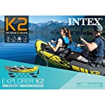 Intex explorer k2 kayak, 2-person inflatable kayak set with aluminum oars and high output air pump 19 comfortable for anyone: kayak includes an adjustable inflatable seat with backrest; cockpit designed for comfort and space dimensions: inflated size 10 feet 3 x 3 feet x 1 feet 8 inch; maximum weight capacity: 400 pounds directional stability: removable skeg for directional stability