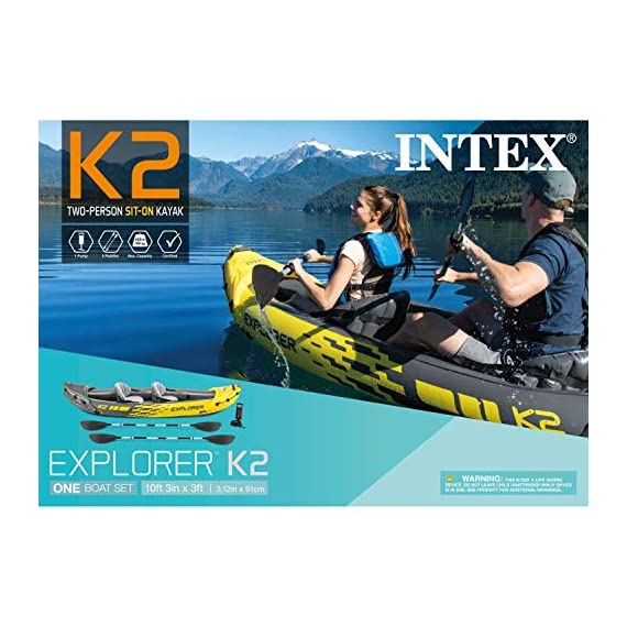 Intex explorer k2 kayak, 2-person inflatable kayak set with aluminum oars and high output air pump 9 comfortable for anyone: kayak includes an adjustable inflatable seat with backrest; cockpit designed for comfort and space dimensions: inflated size 10 feet 3 x 3 feet x 1 feet 8 inch; maximum weight capacity: 400 pounds directional stability: removable skeg for directional stability