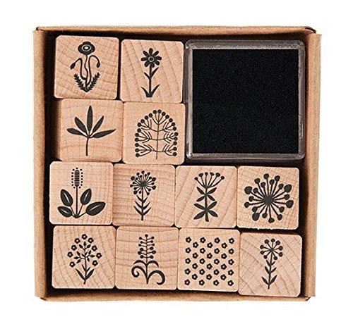 Rico Design Stempel-Set Blumen & Natur - Holzstempel mit Stempelkissen zum Basteln für Kinder - 12 Motive 2x2cm - Stempel aus Holz DIY