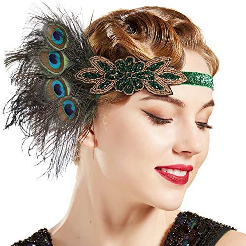 Coucoland 1920s Hoofdband veer dames jaren 20 stijl flapper charleston veer haarband Great Gatsby dames carnaval kostuum haaraccessoires
