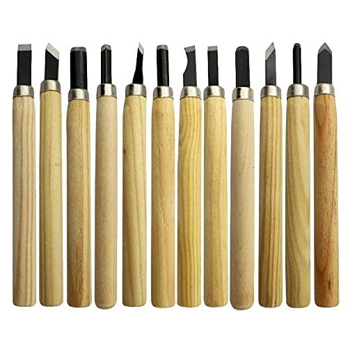 12 piezas / 10 piezas / 6 piezas / 3 piezas Juego de herramientas de mano de cuchillo de cincel de tallado de madera profesional para tallado básico y detallado de carpinteros, 12 piezas