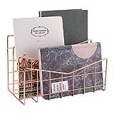 MORIGEM Briefablage Papierablage Rosagold Schreibtisch Organisation 3 Fach Ordnungssystem...