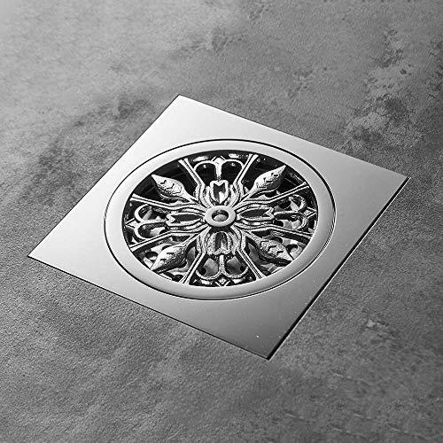 DYR Abflüsse 10x10cm Massiv Messing Chrom Silber Duschablauf Badezimmer Quadratische Abdeckung Geruchsneutrale Haarsieb Balkon Bodenablauf, Chrom U.