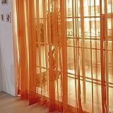 Cortina de tul, ventana de gasa para dormitorios, con bolsillo para varilla, decoración del hogar, cenefas transparentes, panel con bufanda para interiores, naranja, Tamaño libre