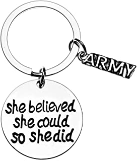 US Army She Believed She Could So She Did Keychain, Inspirational Military Key Rings Gift for Army Daughter, Wife, Mom, Sister or Niece