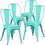 Poly and Bark Metal Modern Dining Chair, Industrial Mid Century Kitchen Cafe Restaurant Side Chair, Stackable, Aqua (Set of 4)