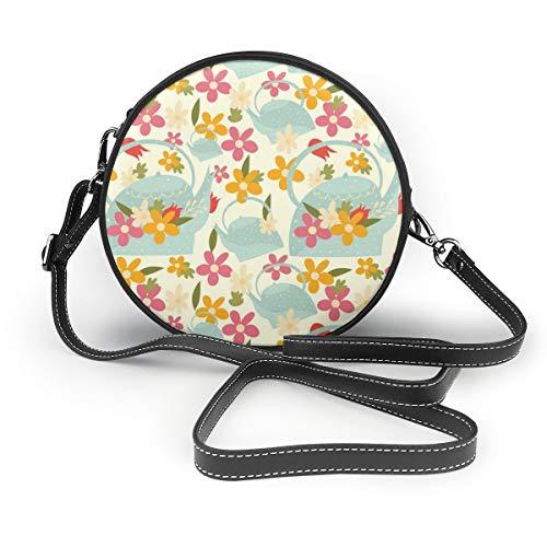 Bunte Blumen und Gießkanne Damen PU Leder Reißverschluss Rund Crossbody Schultertasche Tote Handtasche für Arbeit Reisen Dating Personalisiert