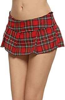 Hffan Damen Plaid Rock Minirock Schulmädchen Schulrock Schottenkaro Skirt Karierte Mini Röcke Cosplay Nachtwäsche Sexy Minirock kurz Schulmädchen Mini Rock Faltenrock Tanz Rock