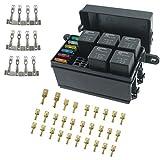 Iztor Universal 6 Way Blade Fuse Holder Box With Spade Terminals and fuse,5PCS 4Pin 12V 40...