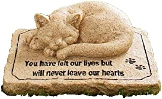 CT DISCOUNT STORE Cat Memorial Stone Cold Cast Ceramic Memorial Garden Backyard (Flower Greenery Cat)