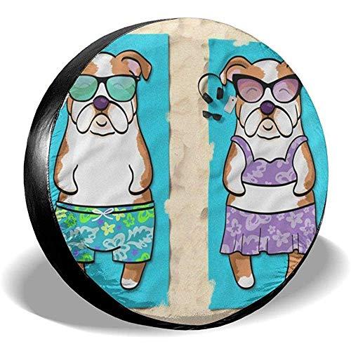 ETGeed Englisch Bulldog Strandtuch Reifenabdeckung Polyester Fahrzeugzubehör