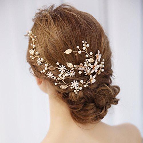 frcolor Strass cristal perla flor hojas boda novia frente Tiara Diadema joyas