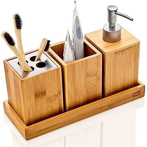 bambuswald© Bad-Accessoires-Set 4-teilig | Badzubehör BZW. Badezimmer Set - Seifenspender Zahnputzbecher Ablagebox Zahnbürstenhalter inkl Schale