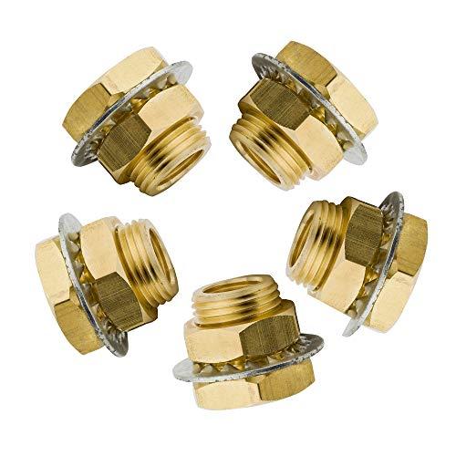 Vis Brass Bulkhead Pipe Fitting, Threaded Bulk head Coupling, Short Anchor Coupler, 1/4