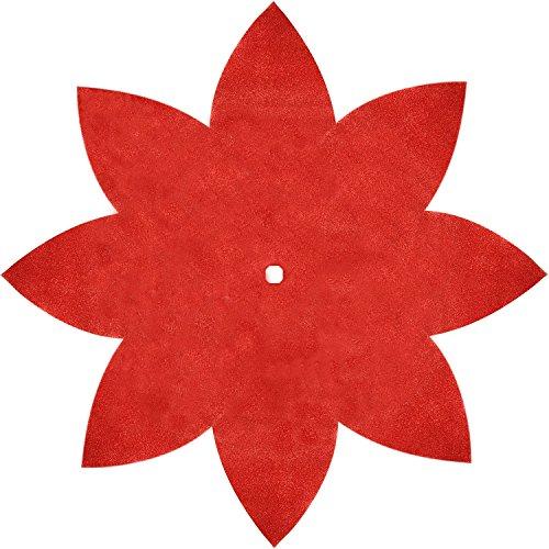 SORRENTO 50' Red Poinsettia Christmas Tree Skirt Shiny Leaf Design Tree Skirt
