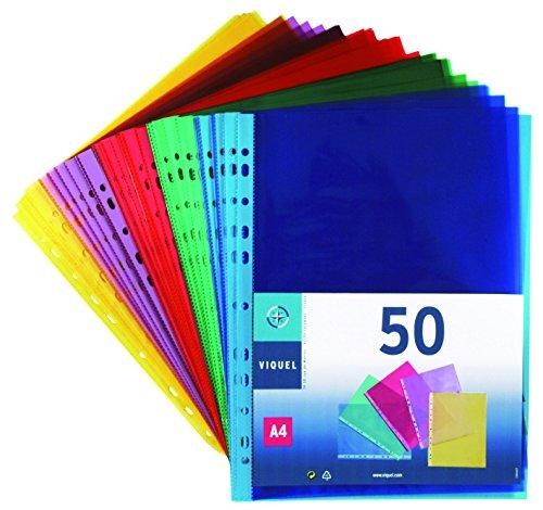 Viquel 208254 Dokumenthüllen gelocht Polypropylen buntes Sortiment, 50 Stück, A4
