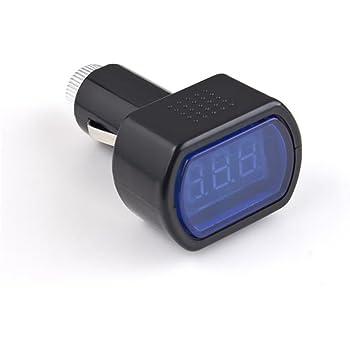 JZK/® 2 in 1 auto 12v 24v voltmetro termometro accendisigari digitale display temperatura e tensione della batteria metro indicatore calibro tester monitor