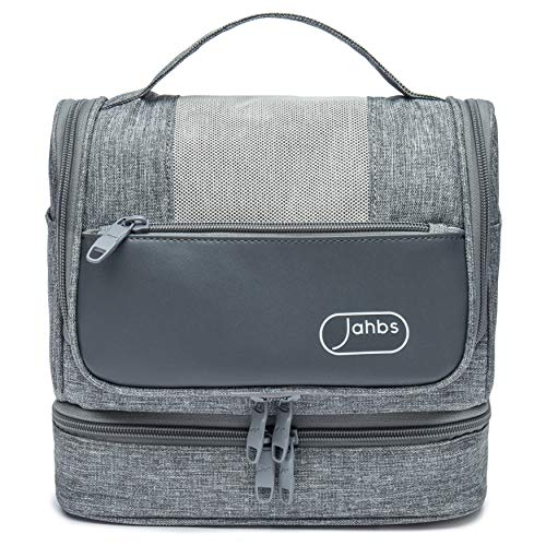 JAHBS Hanging Travel Toiletry Bag For Women and Men with Wet Compartment, Travel Makeup Organizer, Cosmetic bag, Hygiene Bag, Travel Accessories - Grey