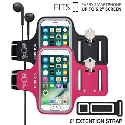 VGUARD [Lot de 2] Universel Brassard Sport pour iPhone Jusqu'à 6.2 Pouces [Compatible Fonction ID Touch] Armband Unisexe, Compatible avec iPhone, Samsung Galaxy, Huawei (Noir+Rose Foncé)