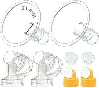 Maymom MyFit Flange Set, Two-Piece Breast Shield (21mm Small) Connector Valve Membrane Compatible with Medela Breast Pumps...