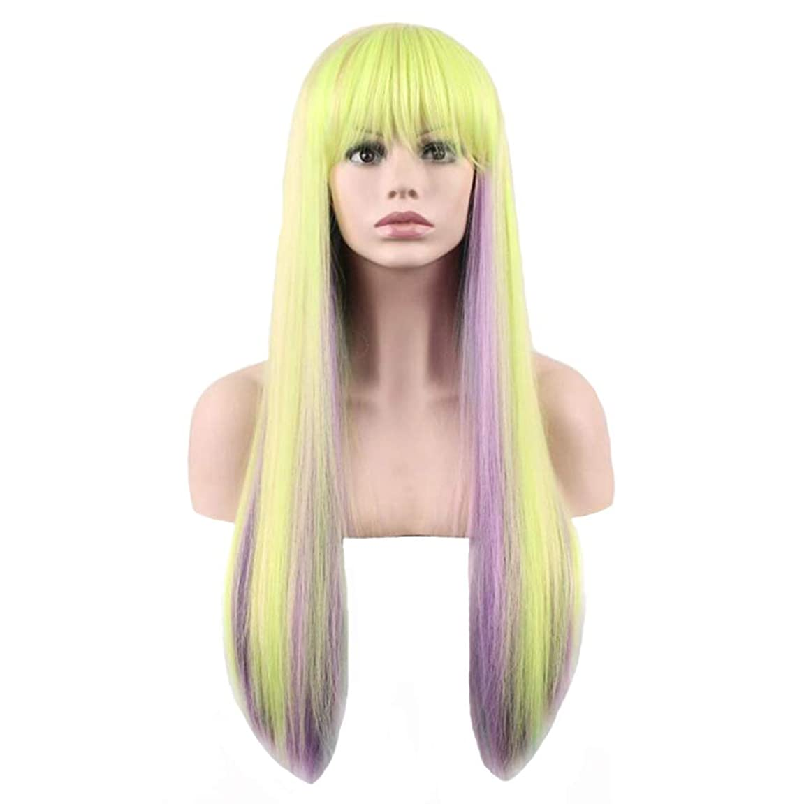モナリザ発見するスケッチウィッグ - ファッションレディー長いストレート高温シルクウィッグパーティーロールハロウィーン70cmの色を演奏 (色 : Green, サイズ さいず : 70cm)