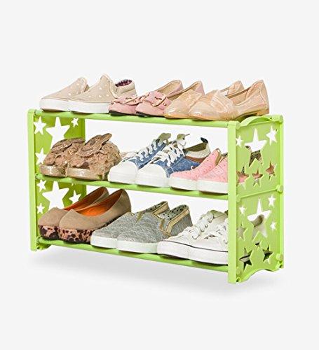 HTDZDX Estante para Zapatos de 3 Niveles, Resistente a la Humedad, Resistente a la oxidación, Montaje elegantemente Moderno, fácil, 60 x 19 x 35 cm (Color : Green)