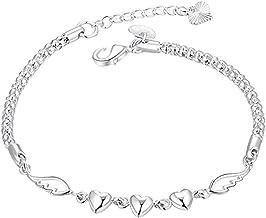 Bao Xiang Vrouwen Armband Pols Chain Stainless Steel Heart Wing Beads Liefde Sieraden Ambachten Geschenk Silver