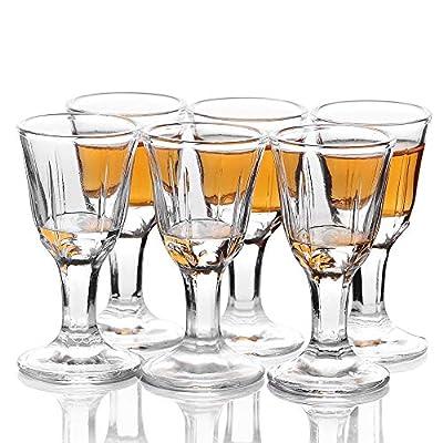 Shot Glasses, HOMEYUT 0.5 oz Soju Shot Glasses Set of 6, Unique Long Stem Wine Glasses/Port Glasses/Mini Goblet Liquor Glasses -Classic Style