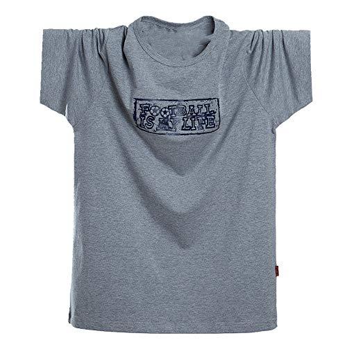 Camiseta de manga corta para hombre holgada, cuello redondo, manga media Gris gris XXL