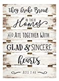P. Graham Dunn Broke Bread Ate Together Sincere Hearts 17 x 24 Inch Solid Pine Wood Skid Wall Plaque Sign