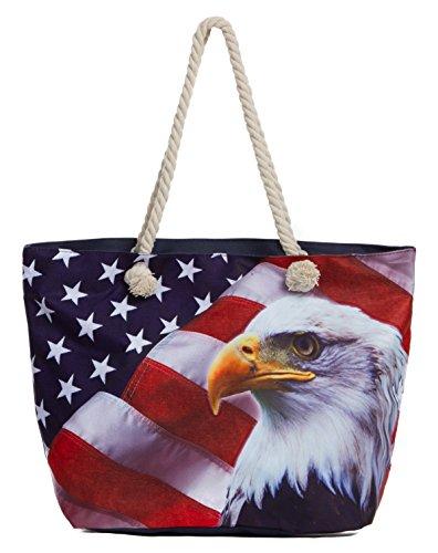 Leisureland Large Beach Tote Bag, Top Zipper Boat Bag (Eagle American Flag)