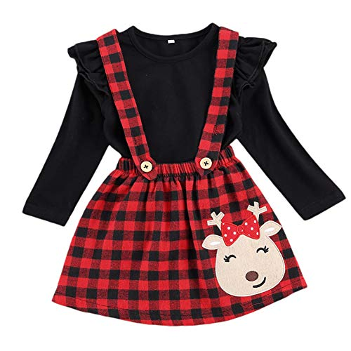 Kids Toddler Baby Girl Christmas Outfit Ruffled Long Sleeve T-Shirt Top Deer Plaid Sunspender Skirt Clothes Set (Black+Plaid, 2-3T)