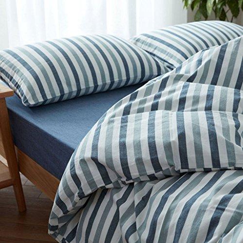 Ericcay Housse De Couette Taie D'Oreiller Casual Chic Accueil Textile Lin Ensemble Quatre Pièces Coton Lavé Doux Confortable Rayure De Sommeil (Couleur A Taille 1.5) (Color : B, Size : 1.5)