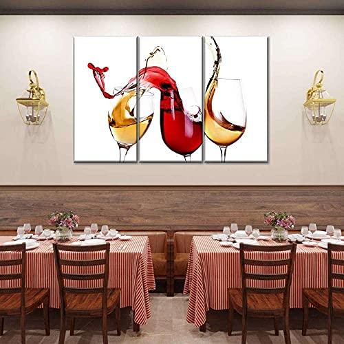 AWER Decoración para el hogar, arte de pared, pintura en lienzo, 3 piezas de lienzo de arte de pared,Tres salpicaduras de vino, paisaje, carteles, imagen, dormitorio (marco)