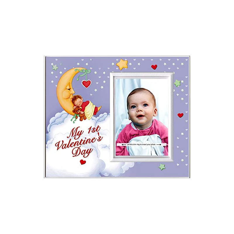 crib bedding and baby bedding my first valentine's day: baby's 1st valentines day picture frame   colorful photo frame nursery decor   gift photo frame for grandma,   easy to mail, size 8.25 x 7 in holds 3.5 x 5 photo   moonbaby