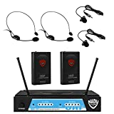 Nady UHF-24 Lapel/Lavalier + Headset Microphone Dual Wireless System with True Diversity - 4 Microphone Bundle (LM-14 + HM-3)
