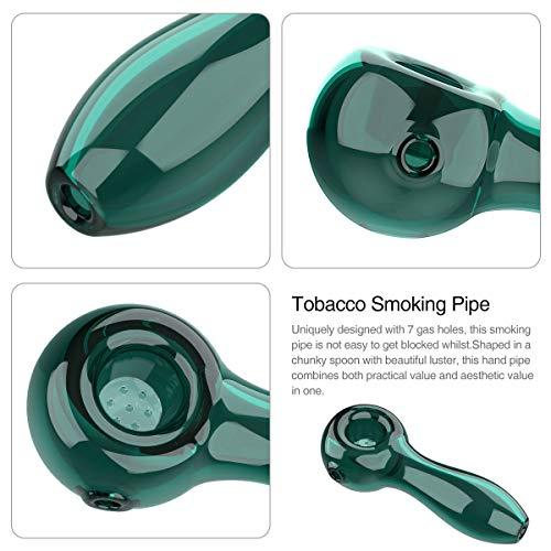 Product Image 5: YoungRich Pipa de Vidrio para Fumar Cuchara de 7 Agujeros Grueso Tubos de Cristal Pequeña Hermoso Lustre Regalo para Padre y Esposo Lago Verde